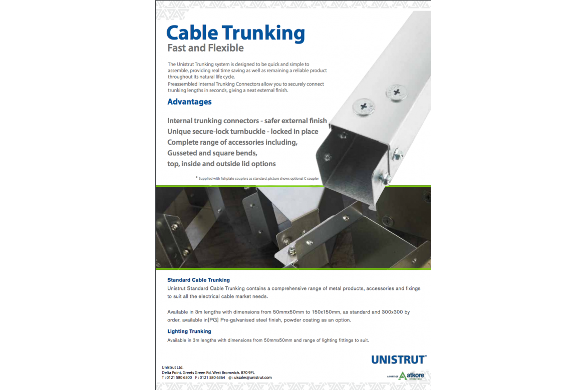 cable trunking by unistrut