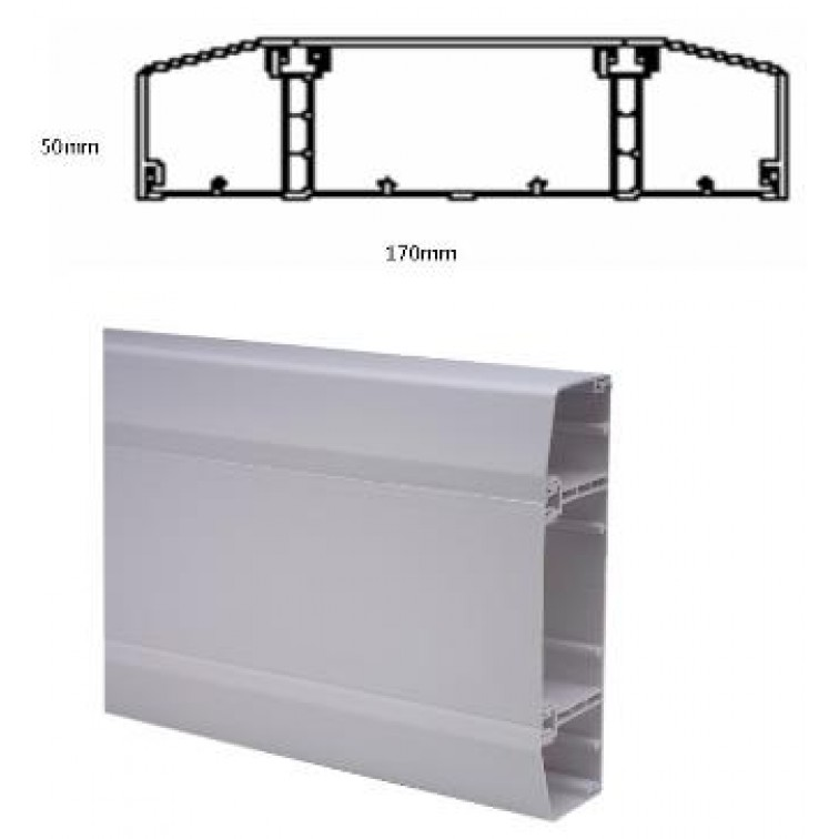 Marco Apollo uPVC trunking 3 compartment dado trunking 170 x 50mm