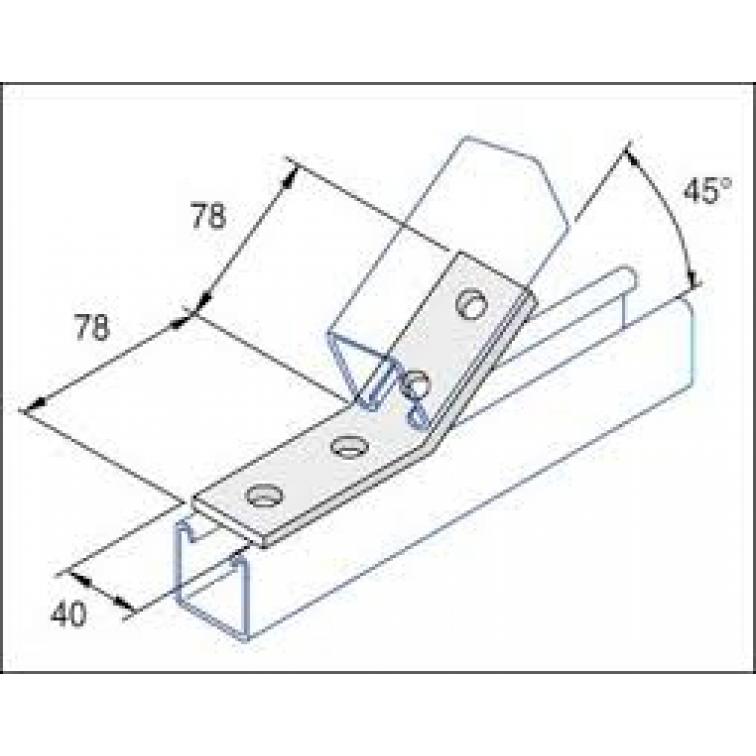 Unistrut 45 Degree Angle Bracket 4 Hole (2x2) Hot Dip Galvanised (P1074)