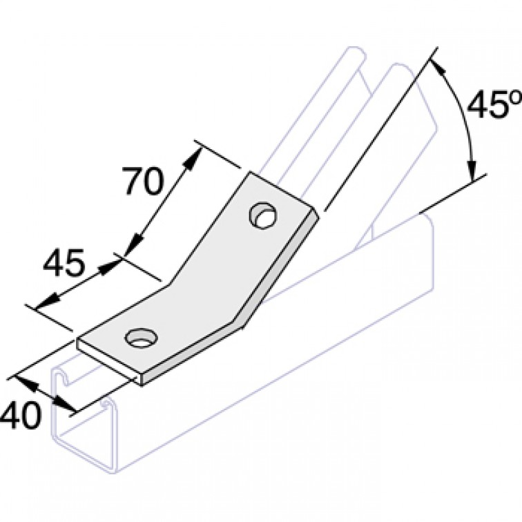 Unistrut 45 Degree Angle Bracket 4 Hole (1x1) Hot Dip Galvanised (P1546)