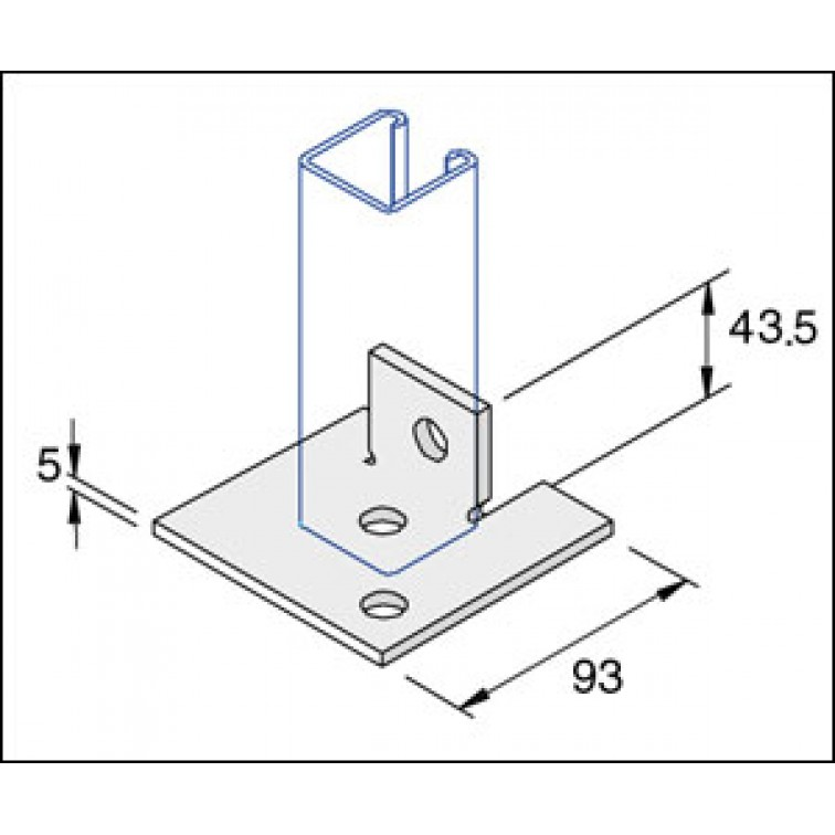 Unistrut Single Channel Base Floor Bracket Fittings 41x41 Hot Dip Galvanised (P2072-S2)