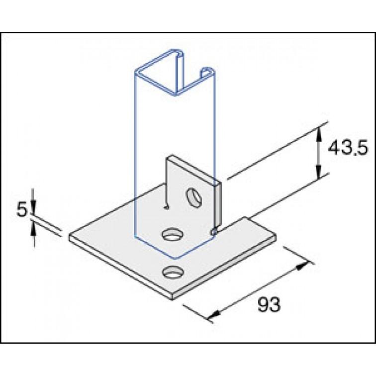 Unistrut Single Channel Base Floor Bracket Fittings 41x41 Hot Dip Galvanised (P2072-S2)