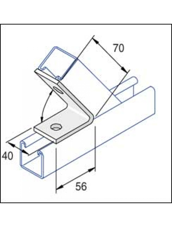Unistrut 75 Degree Angle Bracket 2 Hole (1x1) Hot Dip Galvanised (P2106)