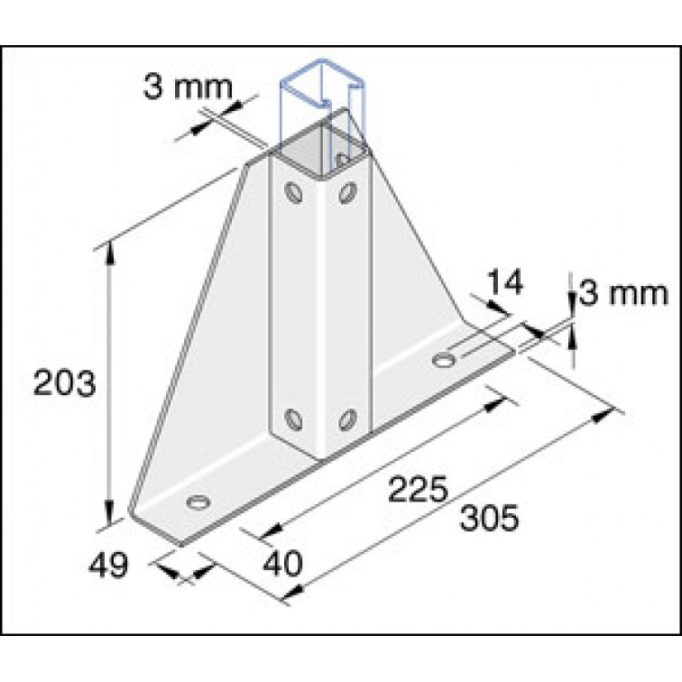 Unistrut Single Delta Channel Base Floor Bracket Fittings 41mm x 41mm Hot Dip Galvanised (P2348-S1)