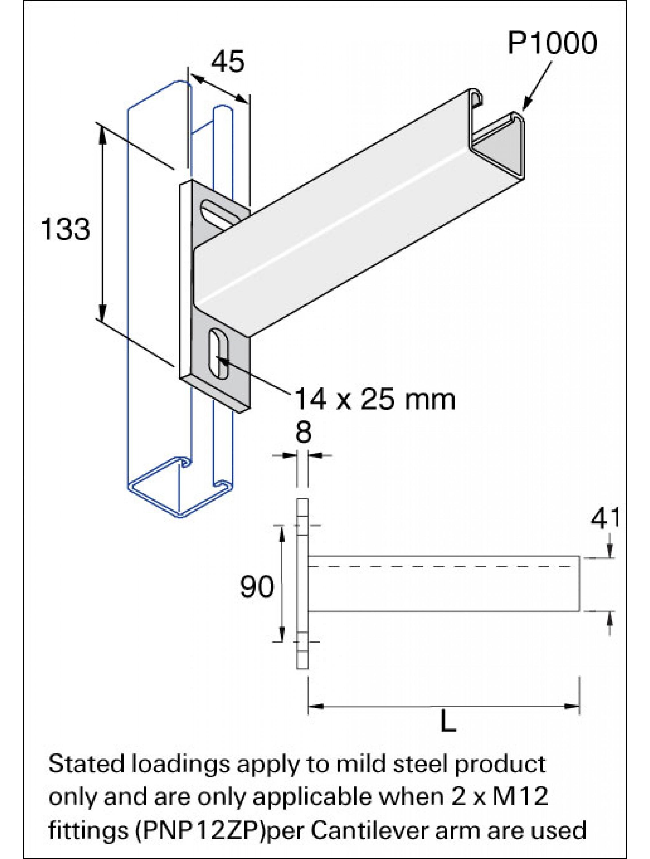 Unistrut Cantilever Arm 450mm Arm Length Hot Dip Galvanised (P2663/450)