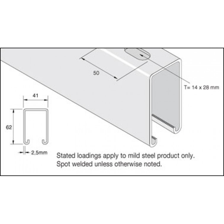 Unistrut 41x62 Slotted Hot Dip Galvanised Channel 3m (P5500THX3) (P5500TX3H)