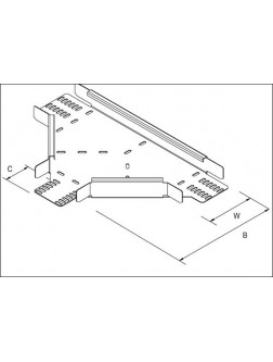 Unistrut Cable Tray Medium Duty Equal Tee 300MM Pre-Galvanised (TUMT300PG)