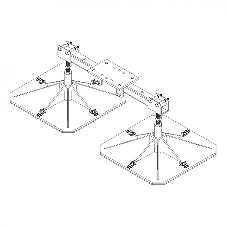 Pump House Double Adjustable Mount Plate flexi-TWIN & flexi-QUAD (F-TQ-ADJ-D)