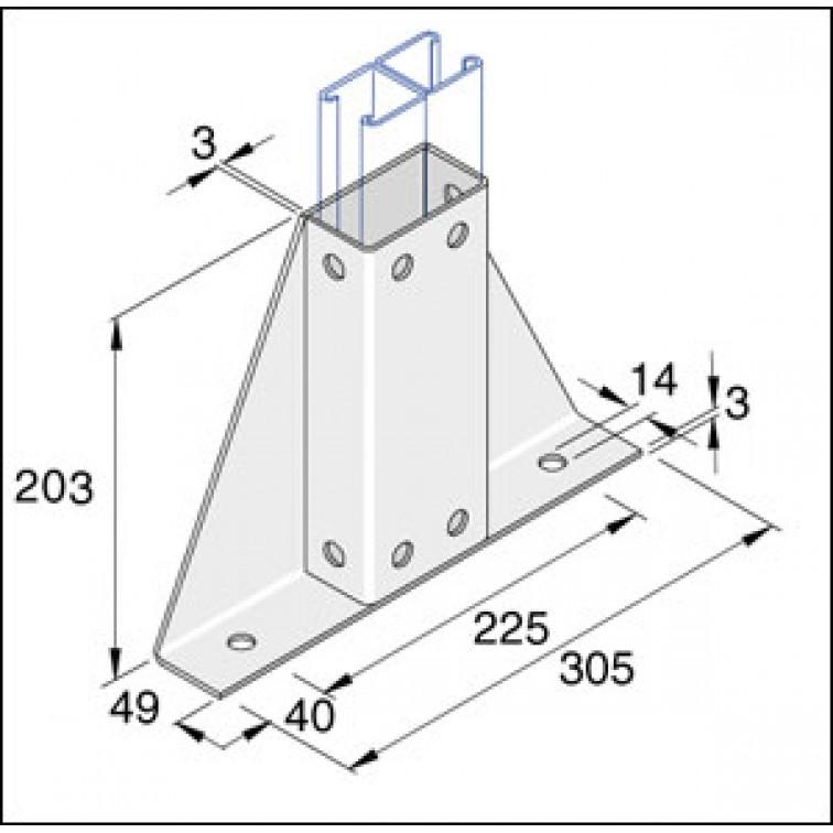 Unistrut Twin Delta Channel Base Floor Bracket Fittings 41mm x 41mm Hot Dip Galvanised (FB64)