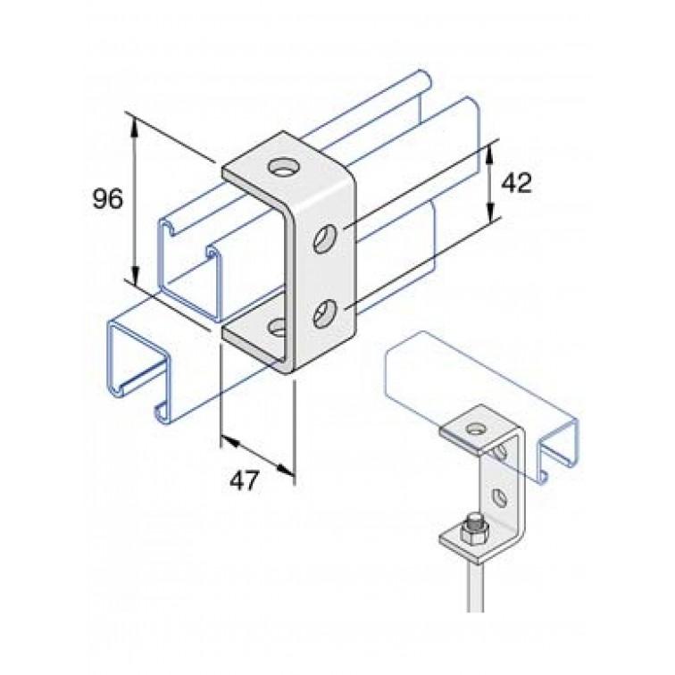 Unistrut 4-Hole U Shape Channel Bracket Hot Dip Galvanised (P1044)