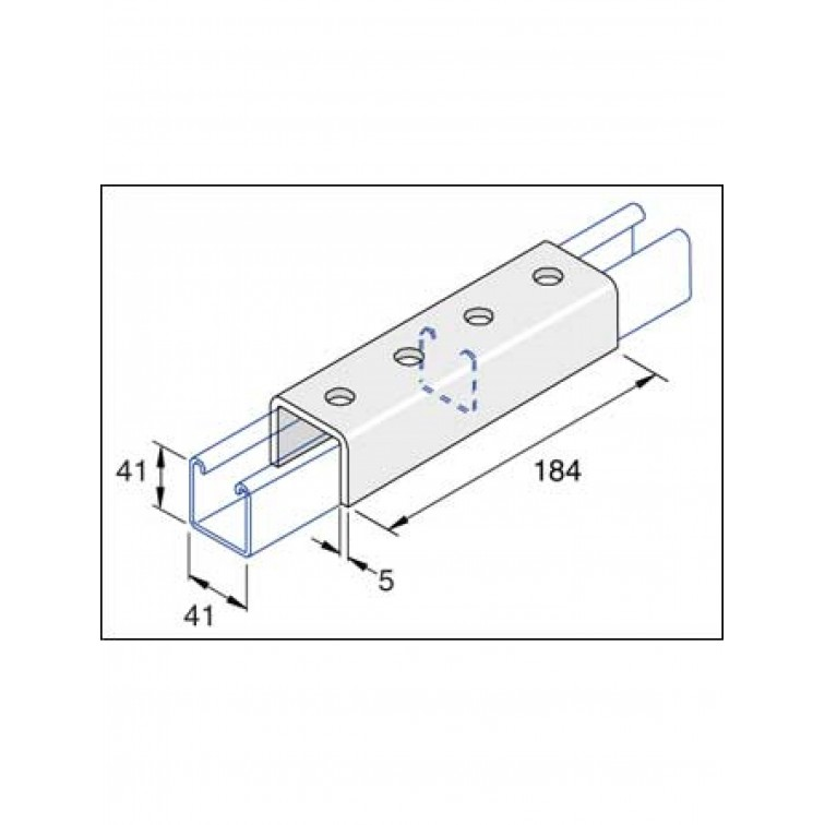 Unistrut 4-Hole U Shaped Fitting Hot Dip Galvanised (P1377)