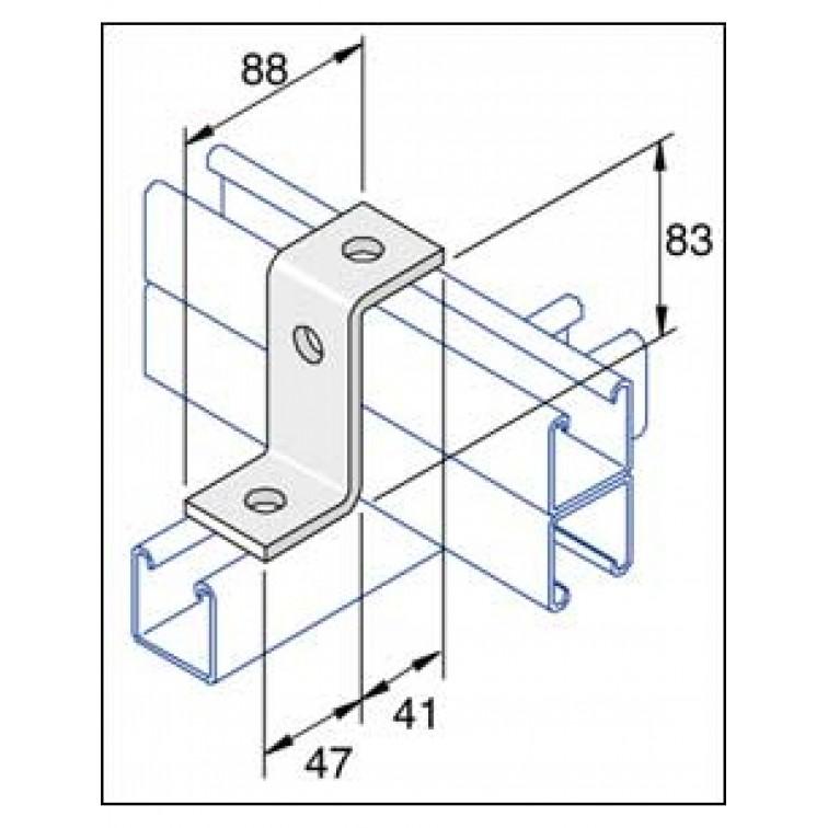 Unistrut 3-Hole Z Shape Channel Bracket Hot Dip Galvanised (P1453)