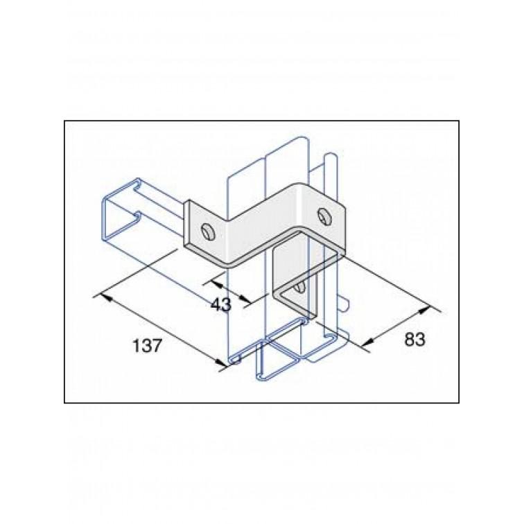 Unistrut 3-Hole U Shape Channel Bracket Hot Dip Galvanised (P1737)