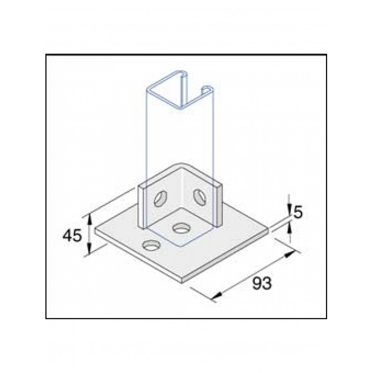 Unistrut Single Channel Base Floor Bracket Fittings 41x41 Hot Dip Galvanised (P2072-S1)