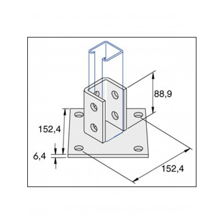 Unistrut Double Fix 2-Hole Channel Base Floor Bracket Fittings 41x41 Hot Dip Galvanised (P2072A)
