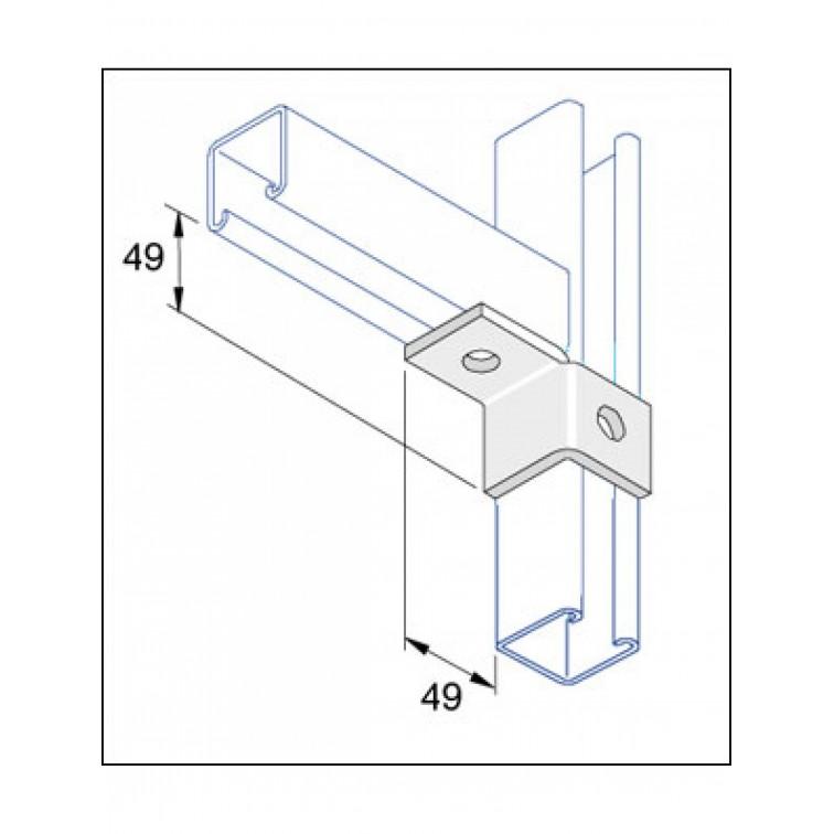 Unistrut 90 Degree Left Hand Wing Angle Brack Hot Dip Galvanised (P2341L)