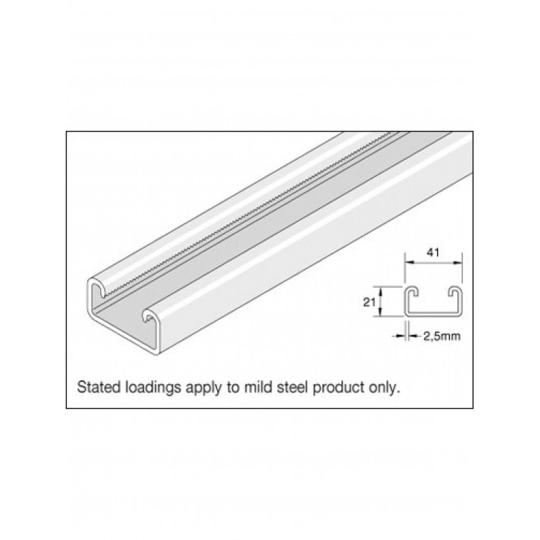 Unistrut Channel 41x 21 Pre Galvanised 1000MM
