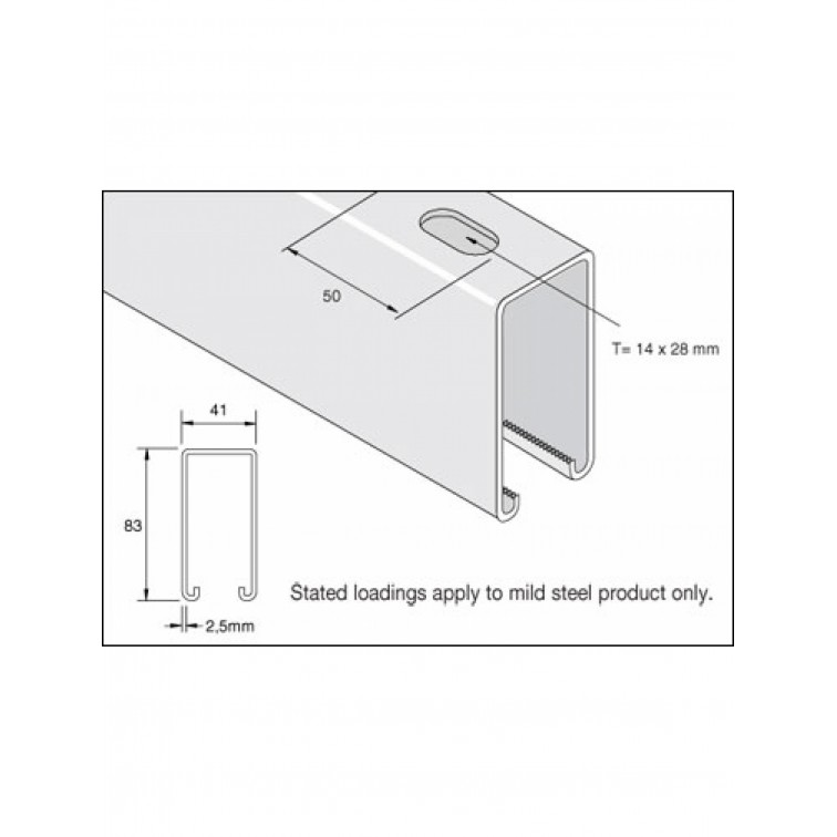 Unistrut Channel 41x82 Slotted Pre-Galvanised 6m (P5000T) (P5000TX6PG)