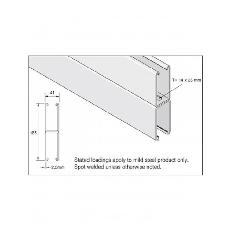 Unistrut Channel 41x165 Back to Back Slotted Pre-Galvanised 6m (P5001T) (P5001TX6PG)