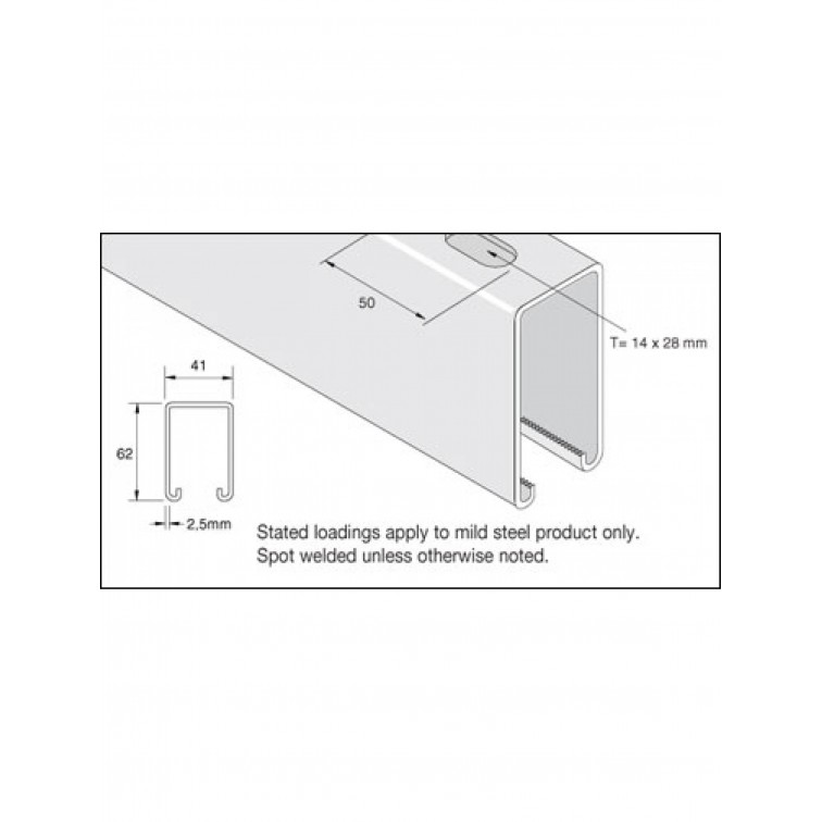 Unistrut Channel 41x62 Slotted Pre-Galvanised 6m (P5500T) (P5500TX6PG)