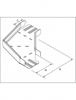 Unistrut Cable Tray Heavy Duty 90 Degreeree Bend 225MM Pre-Galvanised (TUHB225/90PG)