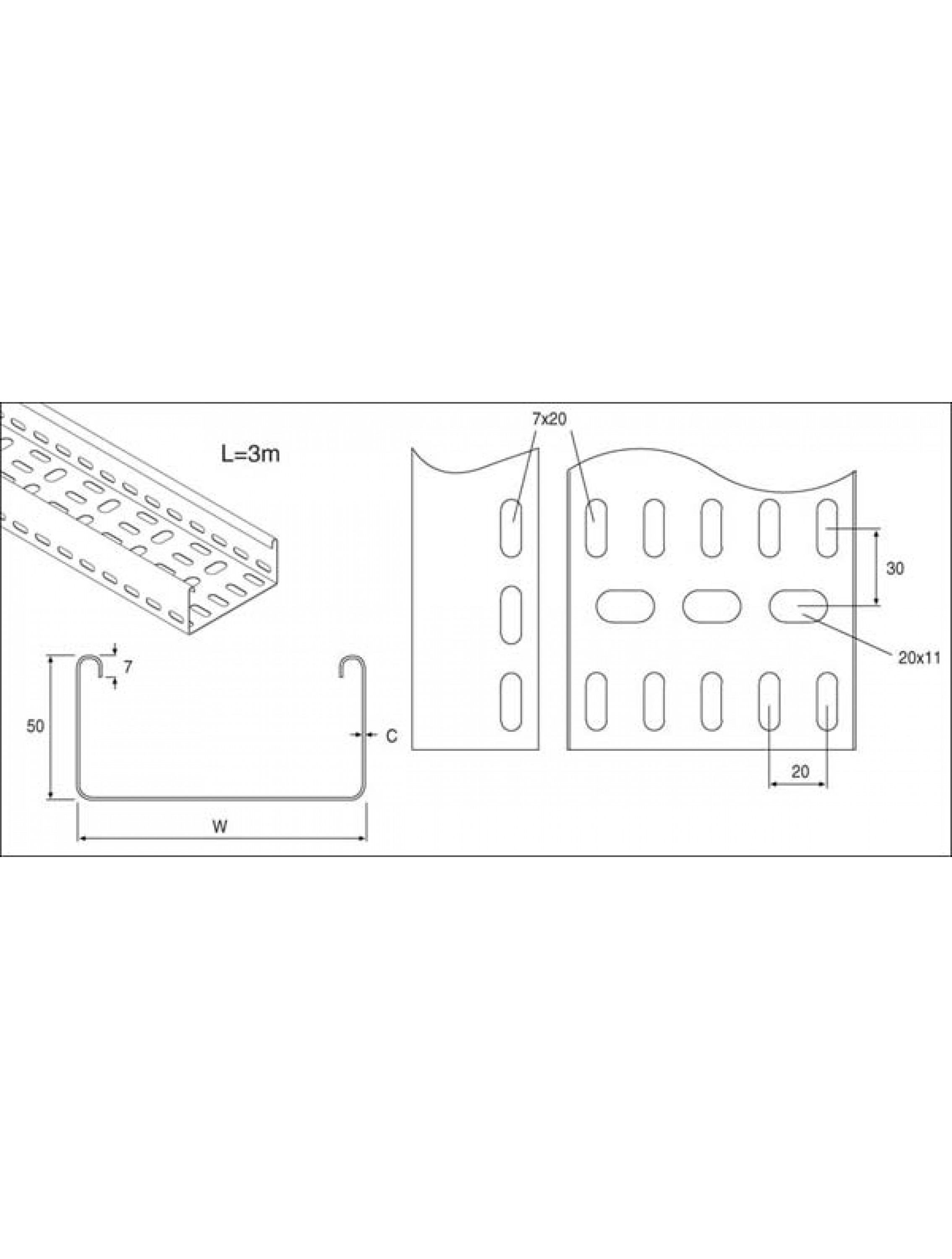 Unistrut Heavy Duty Tray Cable Tray 225mm x3M Hot Dip Galvanised (TUHLT225/15HG)