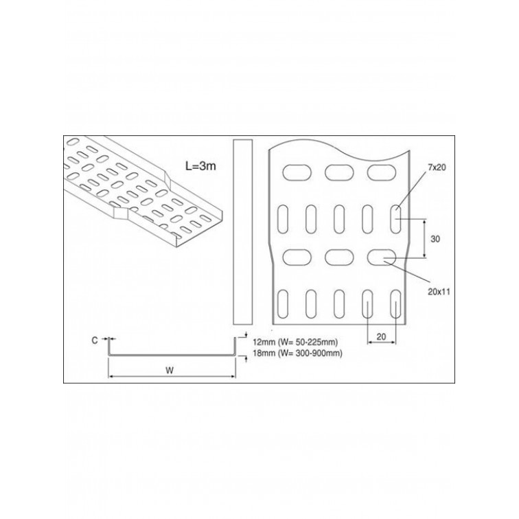 Unistrut Light Duty Cable Tray Straight Tray 300mm x3M Hot Dip Galvanised (TULL300/15HG)