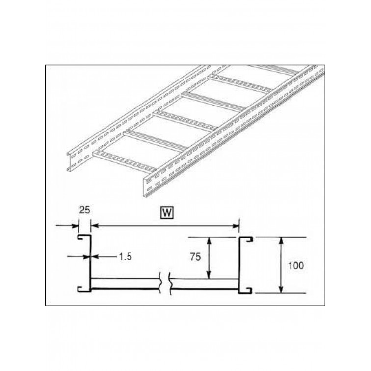 Unistrut U10 Cable Ladder. 100mm Ladder 600mm x 3M Hot Dipped Galvanised (U10L3600H)