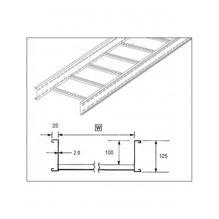 Unistrut U12 Cable Ladder. 125mm Ladder 150mm x 3M Hot Dipped Galvanised (U12L3150H)
