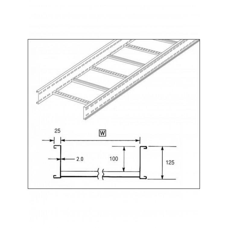 Unistrut U12 Cable Ladder. 125mm Ladder 750mm x 3M Hot Dipped Galvanised (U12L3750H)
