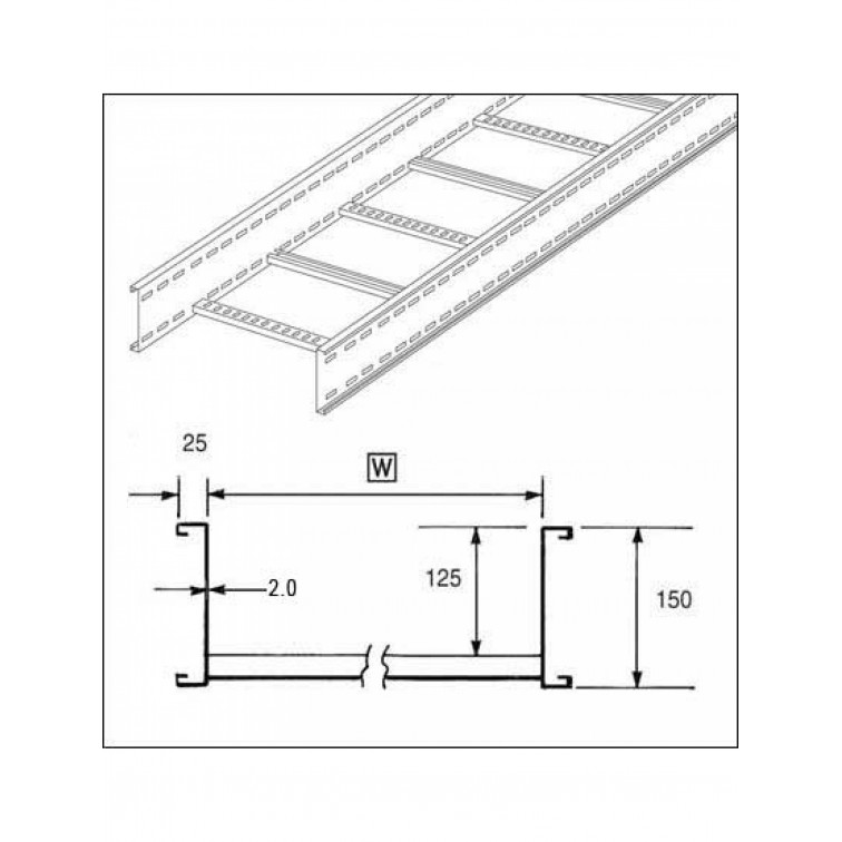 Unistrut U15 Cable Ladder. 150mm Ladder 450mm x 3M Hot Dipped Galvanised (U15L3450H)