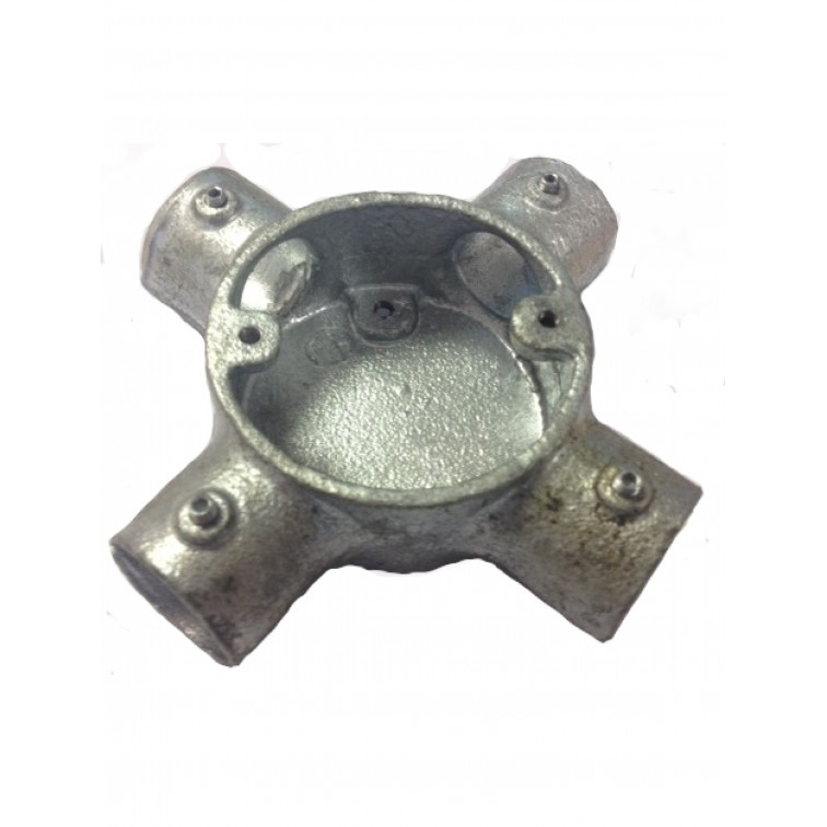 Conlok 20mm Galvanised 4 Way (Intersection) Box (CL5G)