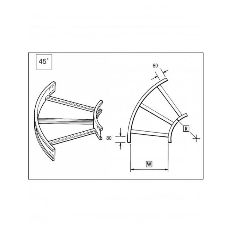 Unistrut U12 Cable Ladder. 125mm 45 Degree Bend 150 x 300mm Hot Dipped Galvanised (U12FB15/45/30H)
