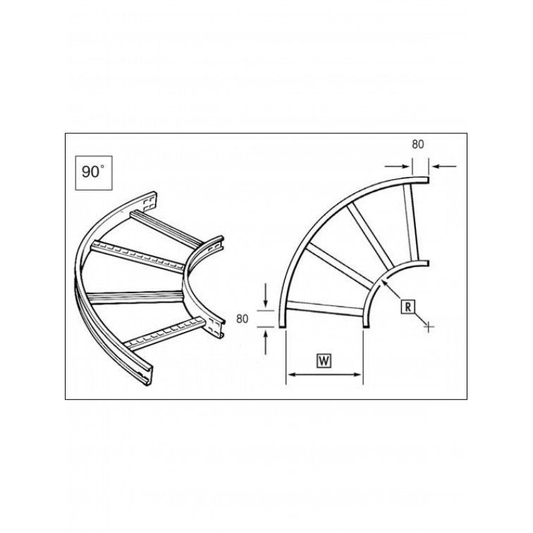 Unistrut U15 Cable Ladder. 150mm 90 Degree Bend 150 x 300mm Hot Dipped Galvanised (U15FB15/90/30H)