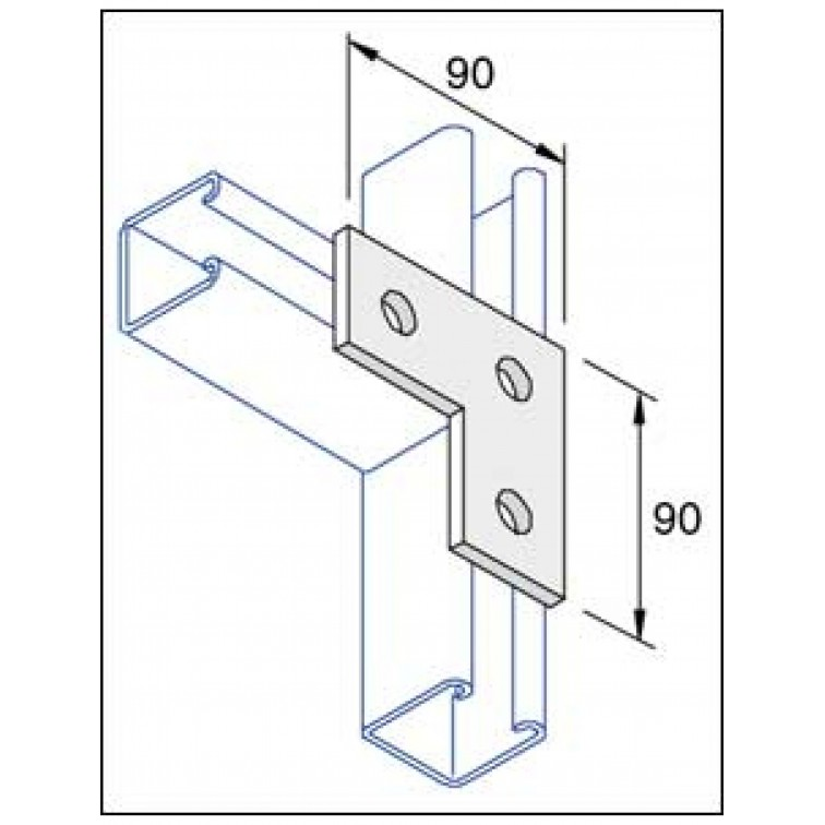 Unistrut Flat Plate Right Angle Bracket 3 Hole Stainless Steel 316
