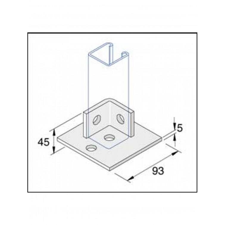 Unistrut Stainless Steel 316 Single Channel Base Floor Bracket Fittings 41x41 (P2072-S1SS)