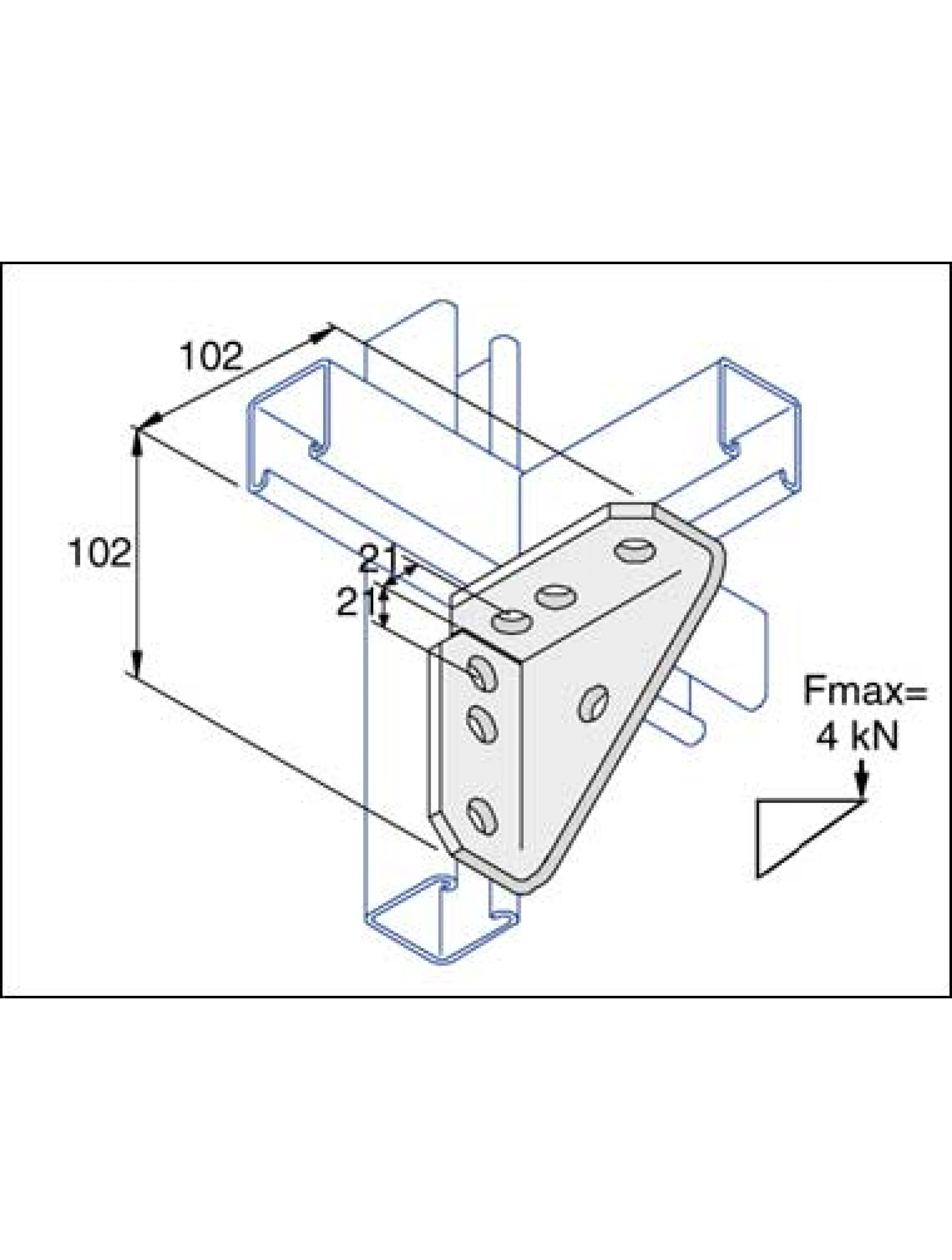 Unistrut 90 Degree Angle Bracket 4 Hole Stainless Steel 316