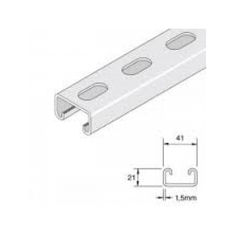 Unistrut Channel 41x21 Pre-Galvanised Slotted 3m Light Duty (P4000TX3) (P4000TX3PG)