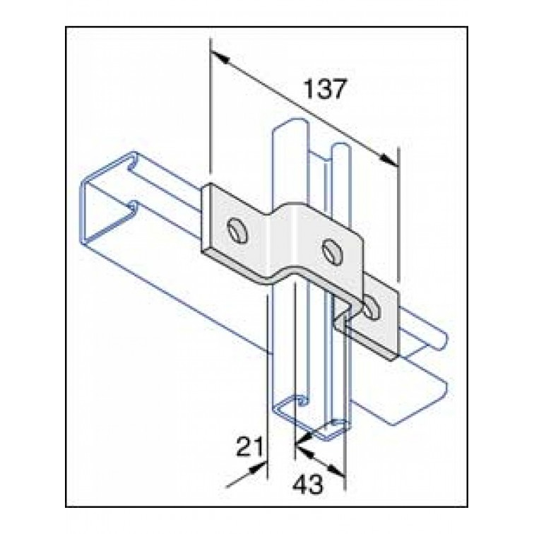 Unistrut 3-Hole Stainless Steel 316 U Shape Channel Bracket