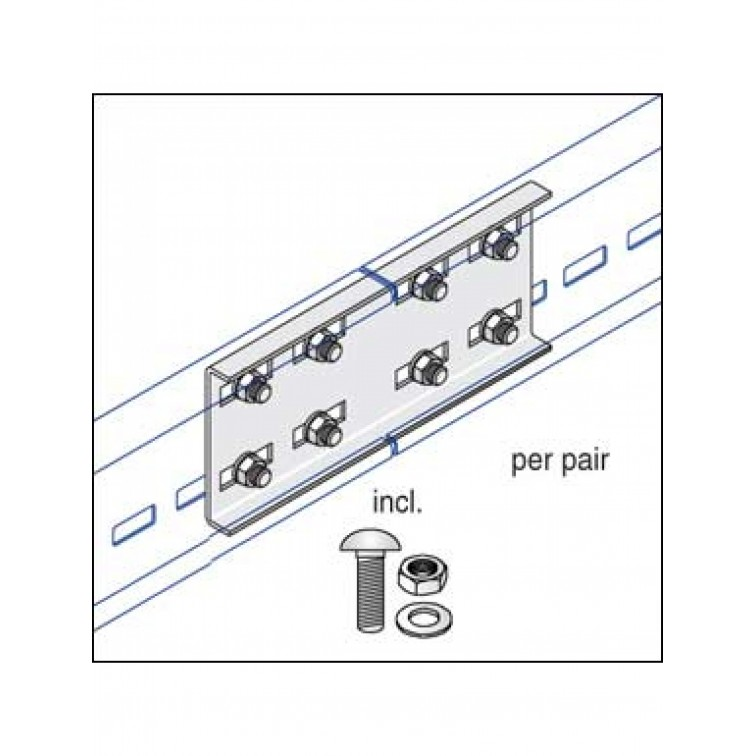 Unistrut U12 Cable Ladder. 125mm Straight Couplers Hot Dipped Galvanised (U12/SP/H)